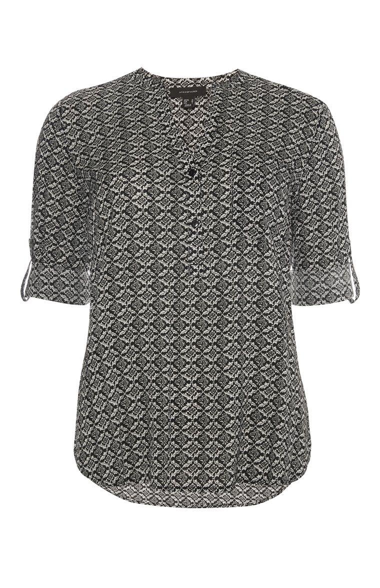 22e51be95a8c76 Primark - Schwarz-weiße Viskose-Bluse | Fashion | Viskose bluse ...