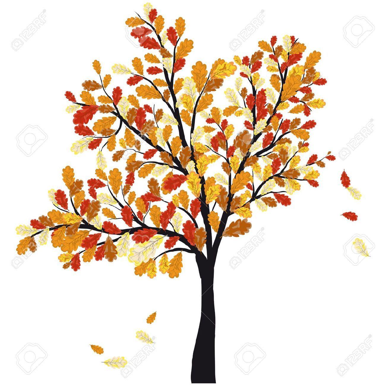 14970481 autumn oak tree with falling leaves illustration stock rh pinterest com Autumn Tree Clip Art Black and White Clip Art of Autumn Scenery