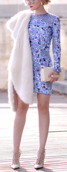 Light Blue Sequin Little Dress