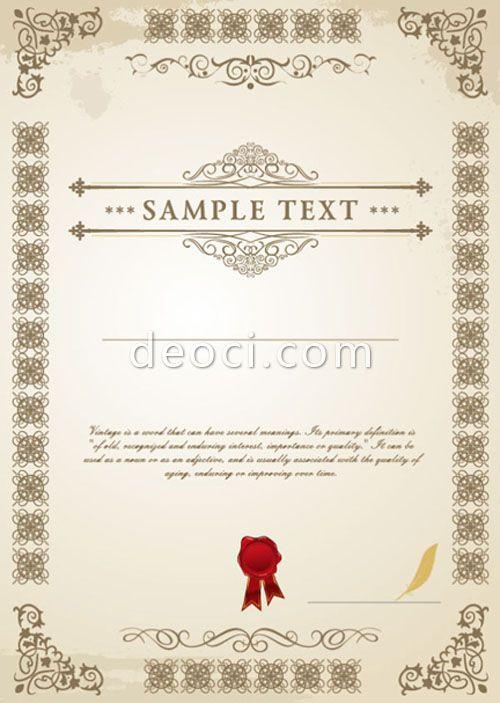 637 Deoci Vector European Certificate Design Templates Eps Files