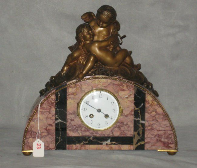 """Figural bronze and marble mantle clock. H:14.5"""" W:15.5"""" : Lot 23"""