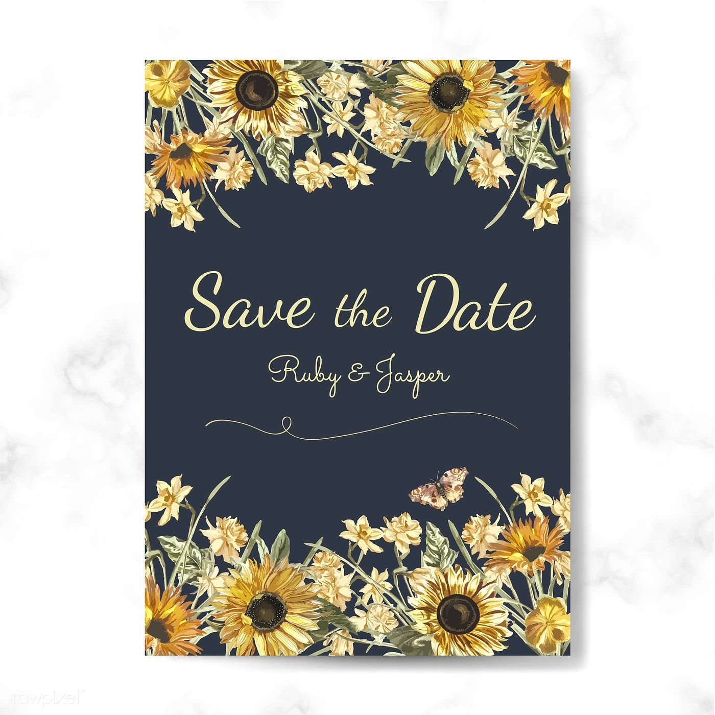 Save the date wedding invitation mockup vector  free image by
