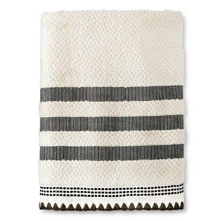 Striped Embroidered Bath Towel Cream X2f Black Threshold