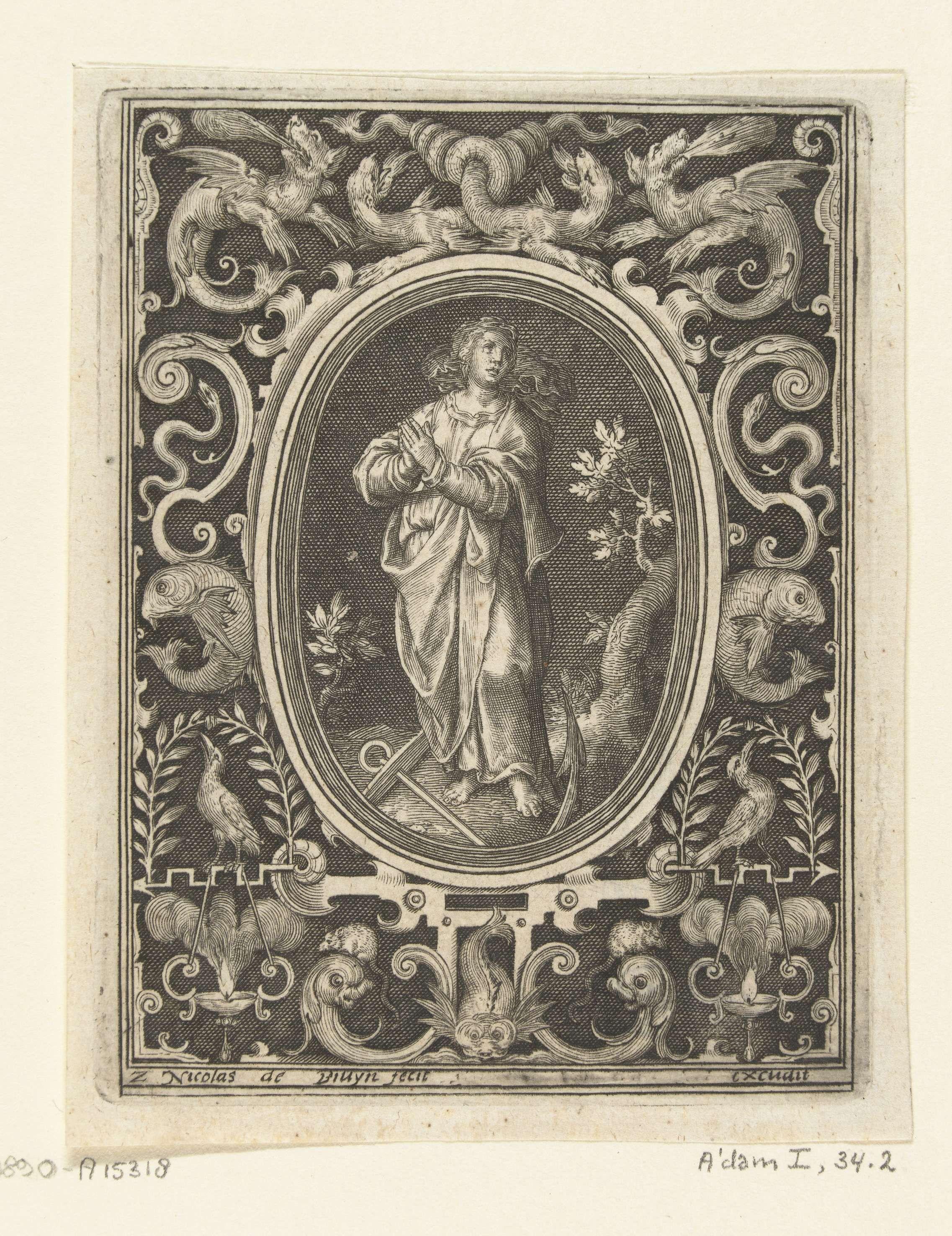 Nicolaes de Bruyn | Vlakdecoratie met Spes, Nicolaes de Bruyn, 1581 - 1656 | Blad 2 van serie van 4 genummerde bladen met vlakdecoraties. Spes, personificatie van de Hoop, staand in ovaal. In de omlijsting midden boven vier draken waarvan twee met in elkaar gedraaide staarten. Gearceerde achtergrond.