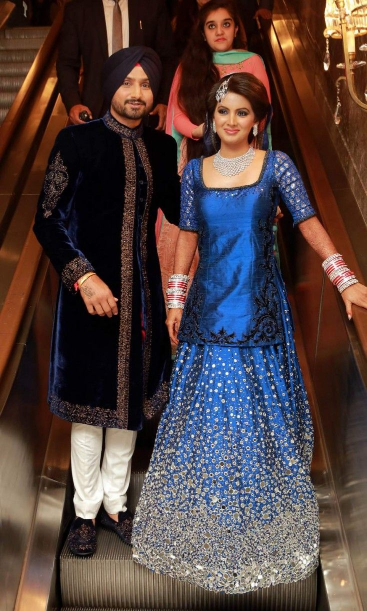 Harbhajan Singh And Geeta Basra S Wedding Reception Indian Celebrities Indian Bridal Lehenga Bollywood Wedding