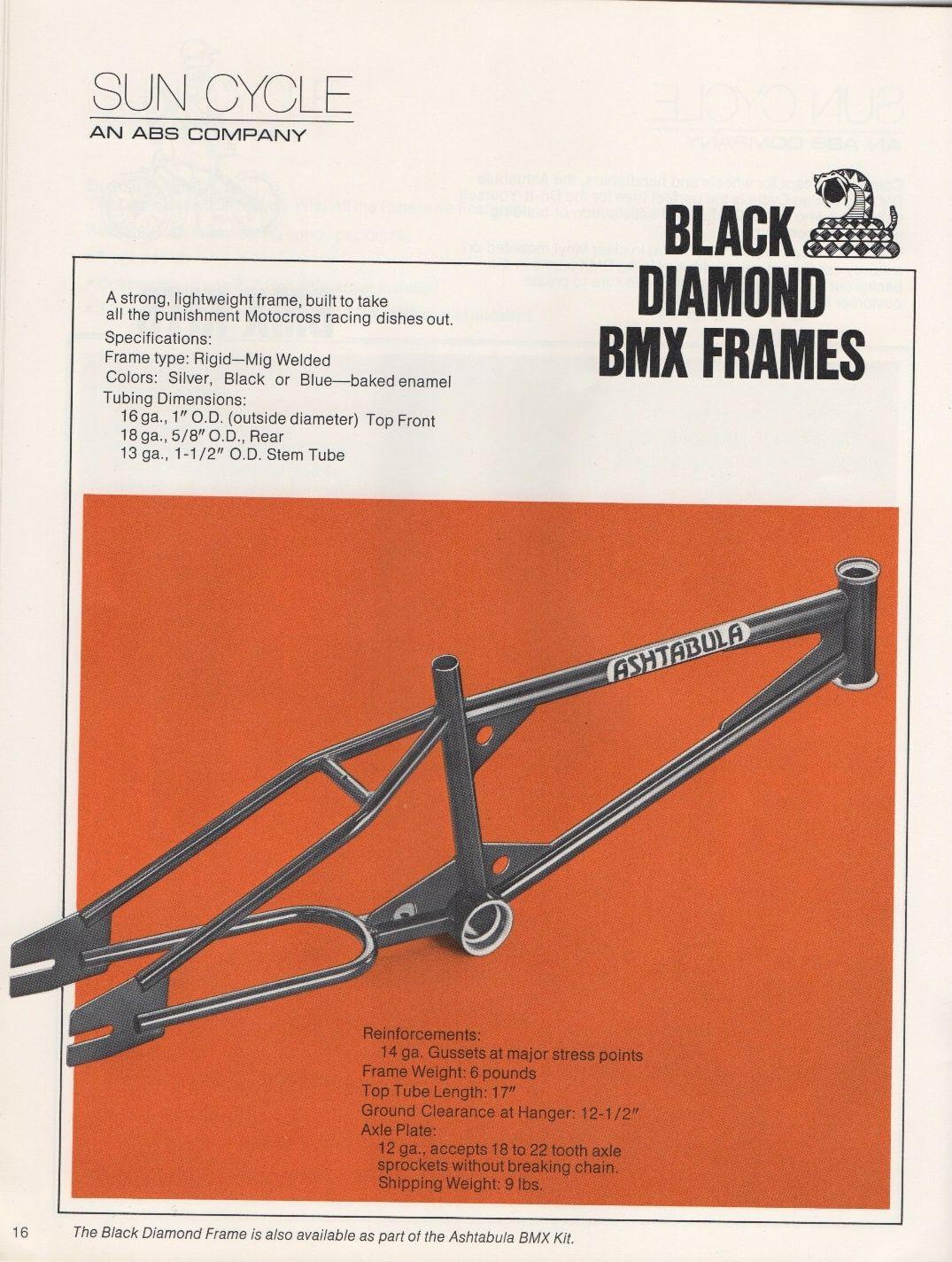 Ashtabula Black Diamond Bmx Frame Bmx Frames Vintage Bmx Bikes Bicycling Magazine