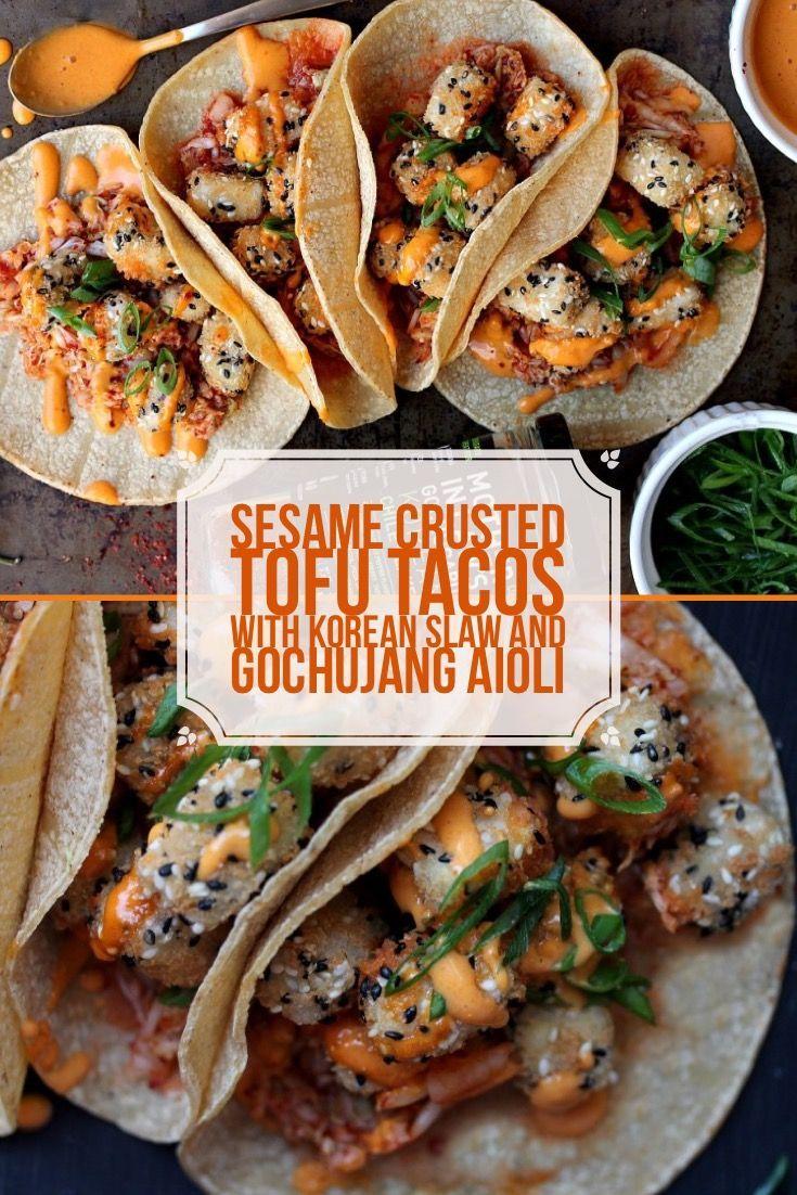 Sesame Crusted Tofu Tacos With Korean Slaw And Gochujang Aioli