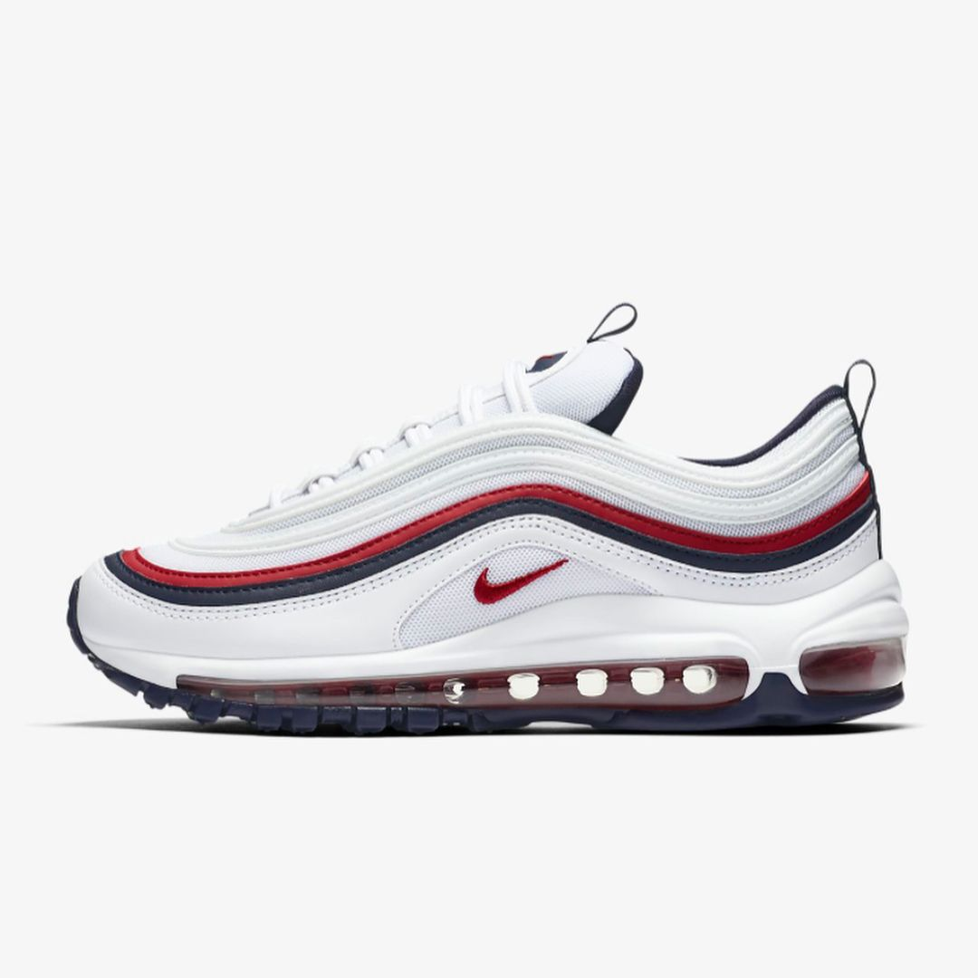 Nike Womens Air Max 97 In White Blackened Blue Red Crush Is