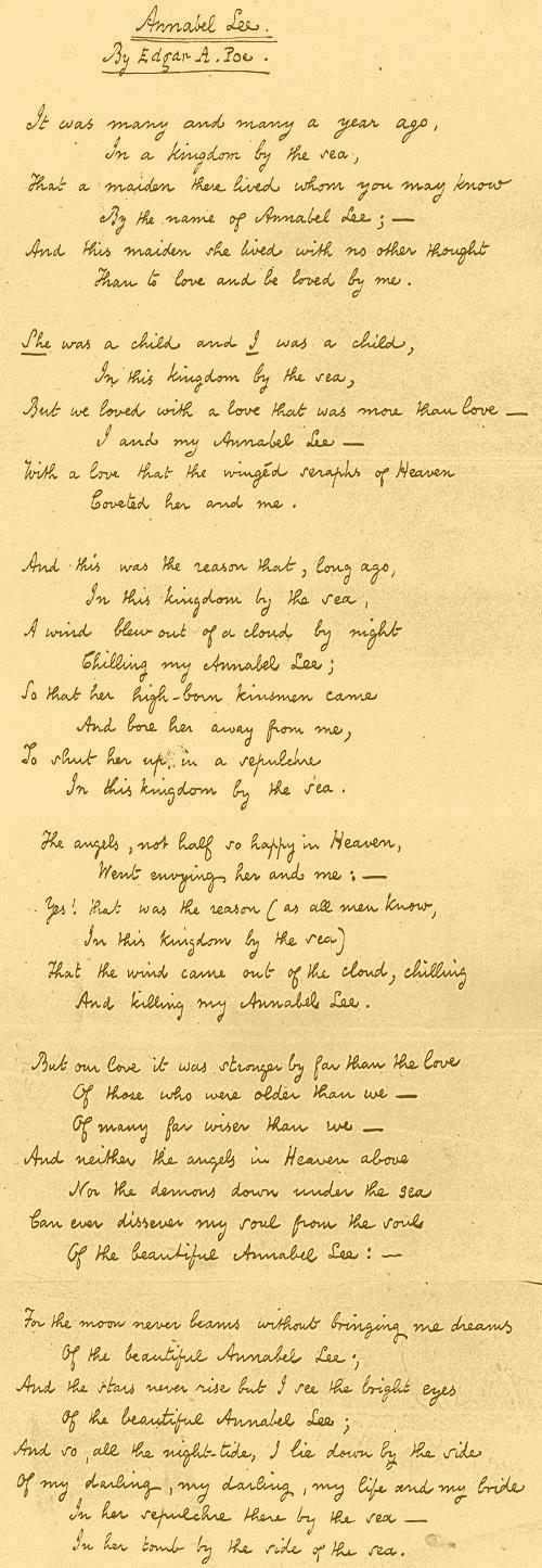 Annabel Lee By Edgar Allan Poe Annabel Lee Edgar Allen Poe Poems Edgar Allan Poe