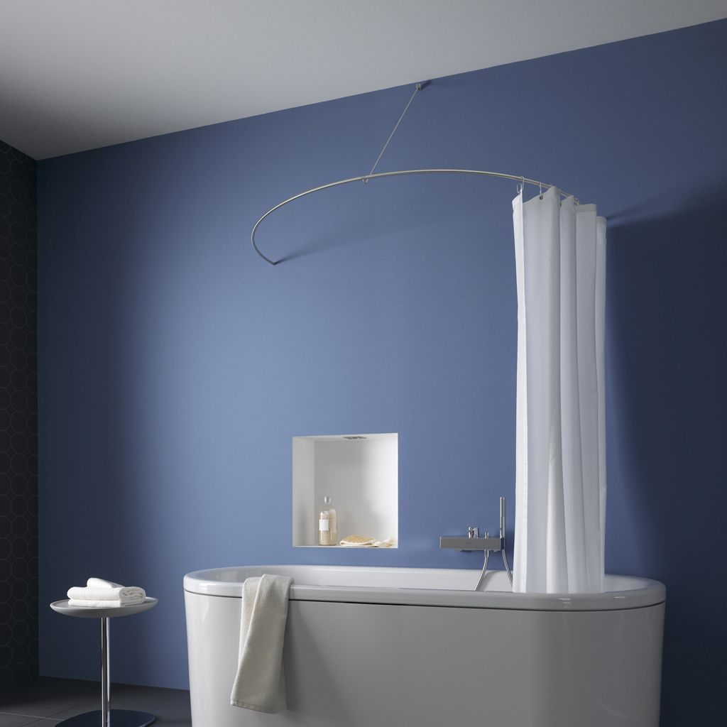 Freestanding bath with curved shower rail | Bathroom | Pinterest ...