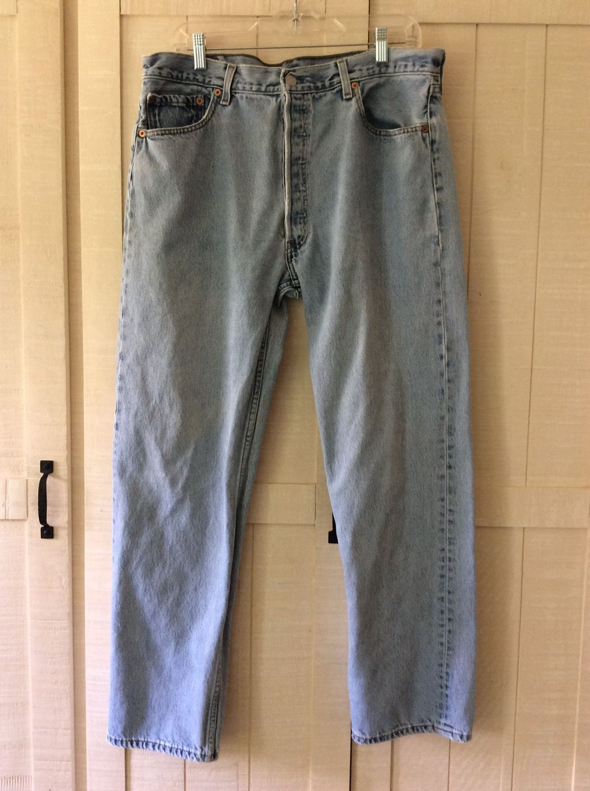 5ed4bb9a Levis 501 Button Fly Jeans 38 X 32 Light Stonewash 5 Pocket Red Tab  Straight Leg | eBay