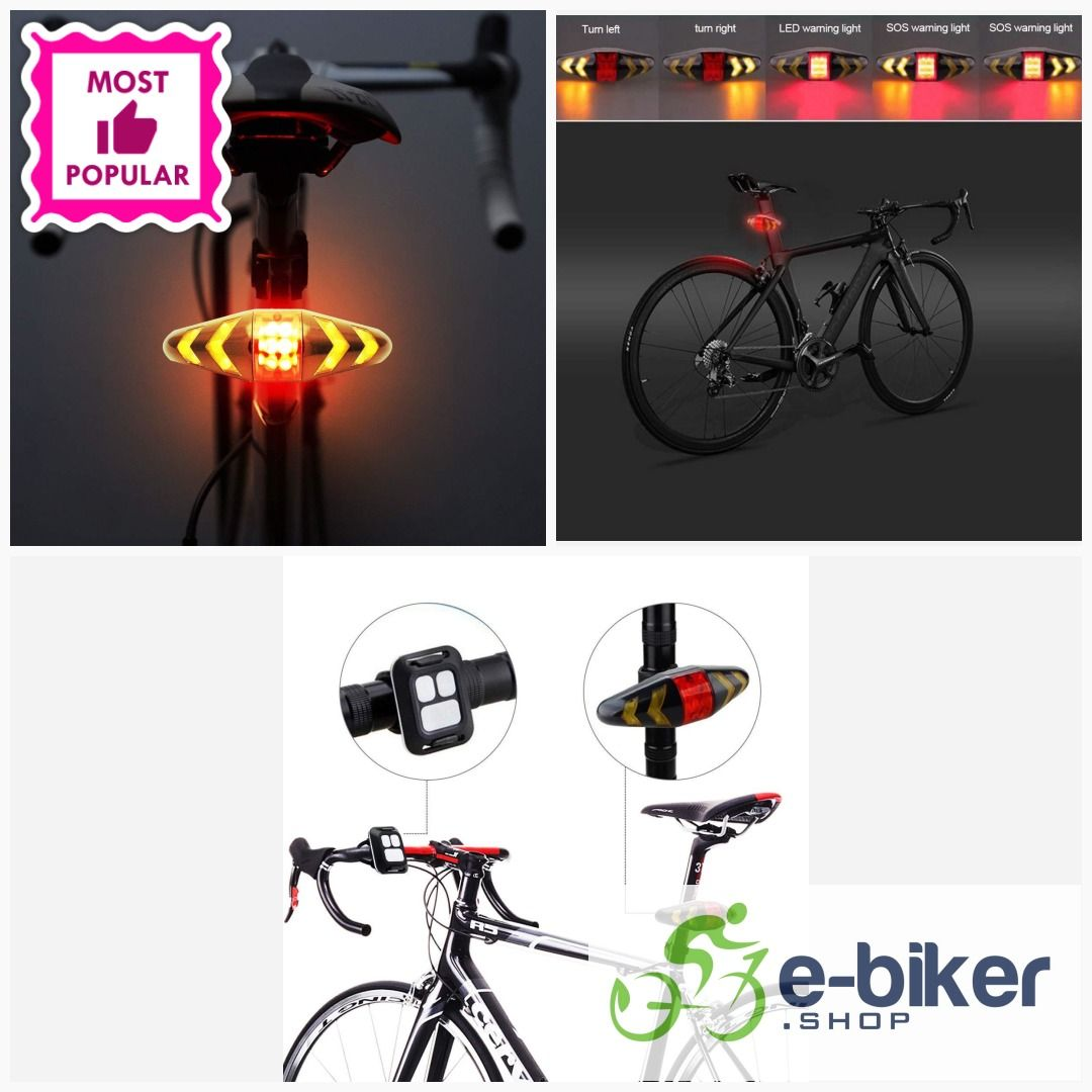 Remote Control Smart Bike Bicycle Tail light Turn Signal LED 4-Mode Warning Lamp