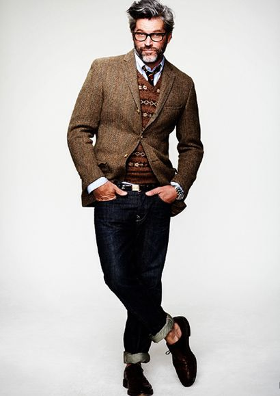 Brown Wool Tweed Jacket Fair Isle Sweater Vest Indigo Fitted Jeans