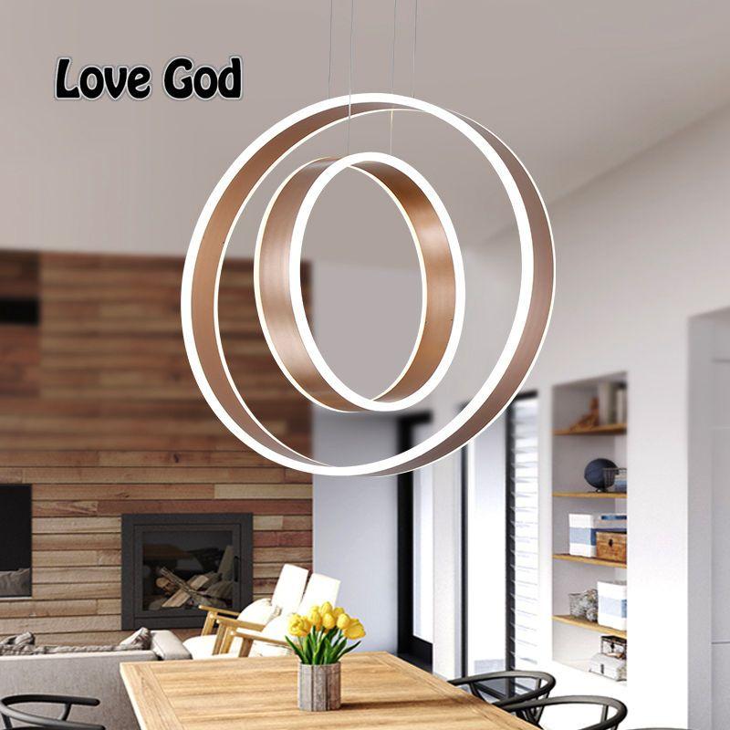 Modern LED Living Dining Room Pendant Chandelier Suspension Double Ring Luminaire Smart Home Led Lighting