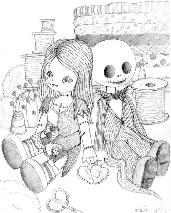 Jake and Sally Nightmare before christmas drawings