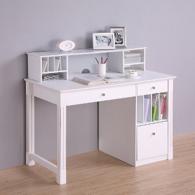 Deluxe Solid Wood Desk With Hutch White Walker Edison Products
