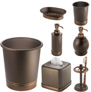 Orb Crackle Glass And Oil Rubbed Bronze Bath Accessories By