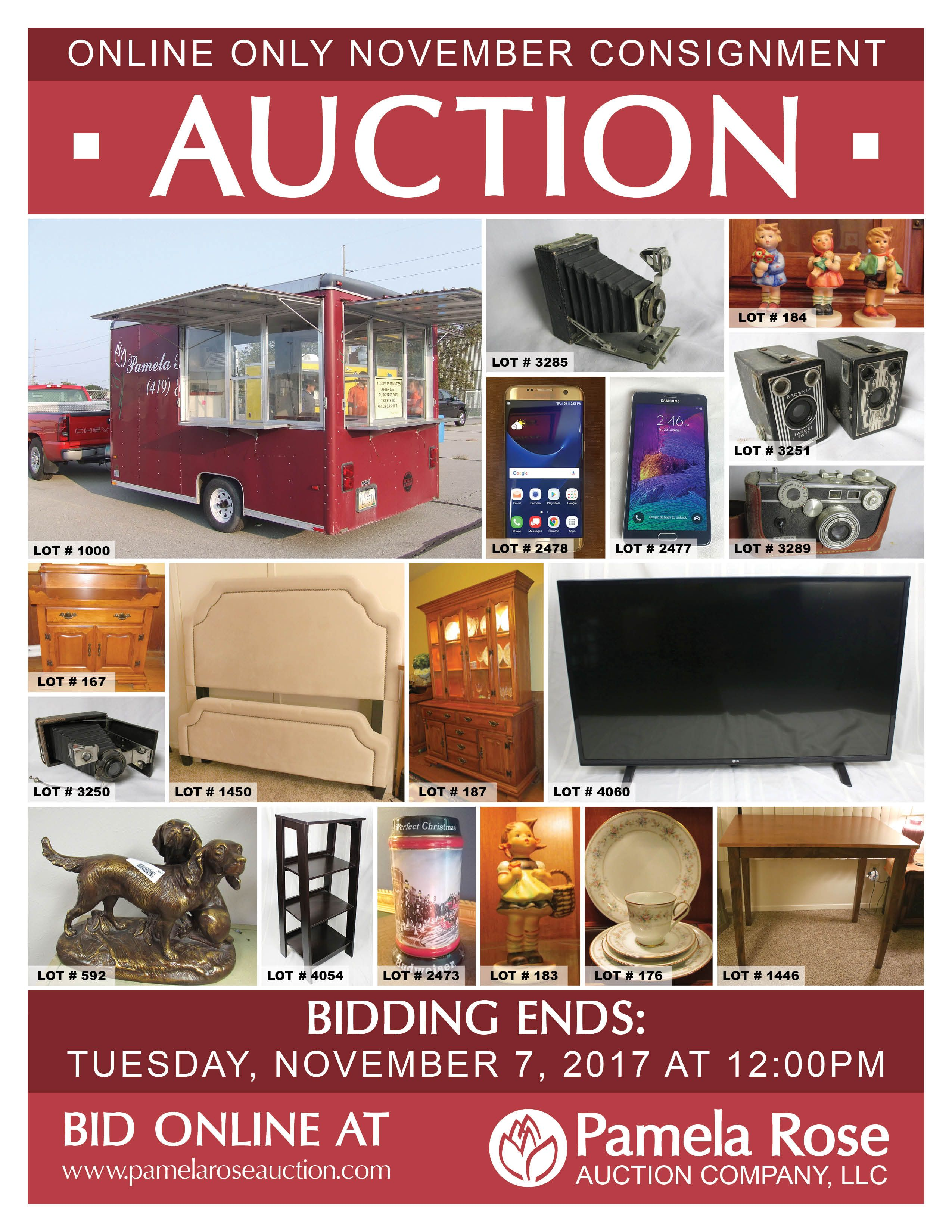 Online Only November Consignment Auction Hundreds Of Items Bidding Is Now Open Bid Online At Www Pamelaroseauction Com Be With Images Auction Consignment Catalog Online