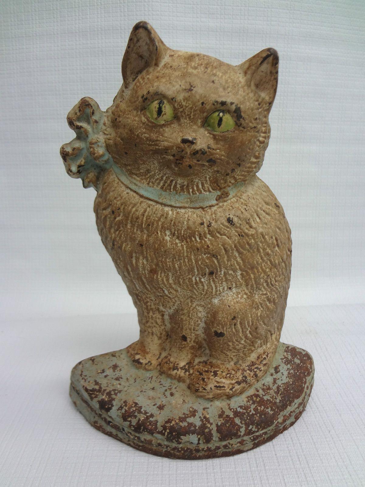 8 antique cast iron hubley cat 38 cat doorstop w orig paint nr cast iron iron and cat - Cast iron cat doorstop ...