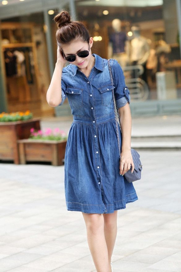 d0794a7925 ... Jean Denim Knee Length Dress. Hotsale Women s Fashion Casual Denim  Lapel Cocktail Party Wear To Work Jeans Shirt Dress
