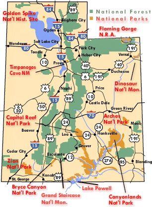 Southern Utah National Parks National Monuments National - Utah national parks map