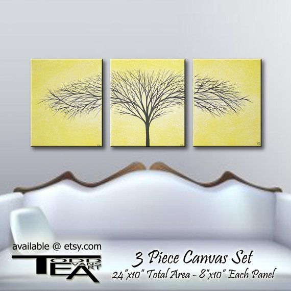 DEAL of the DAY, 24x10 inches, 3 piece Set, Canvas Art, Yellow Art ...