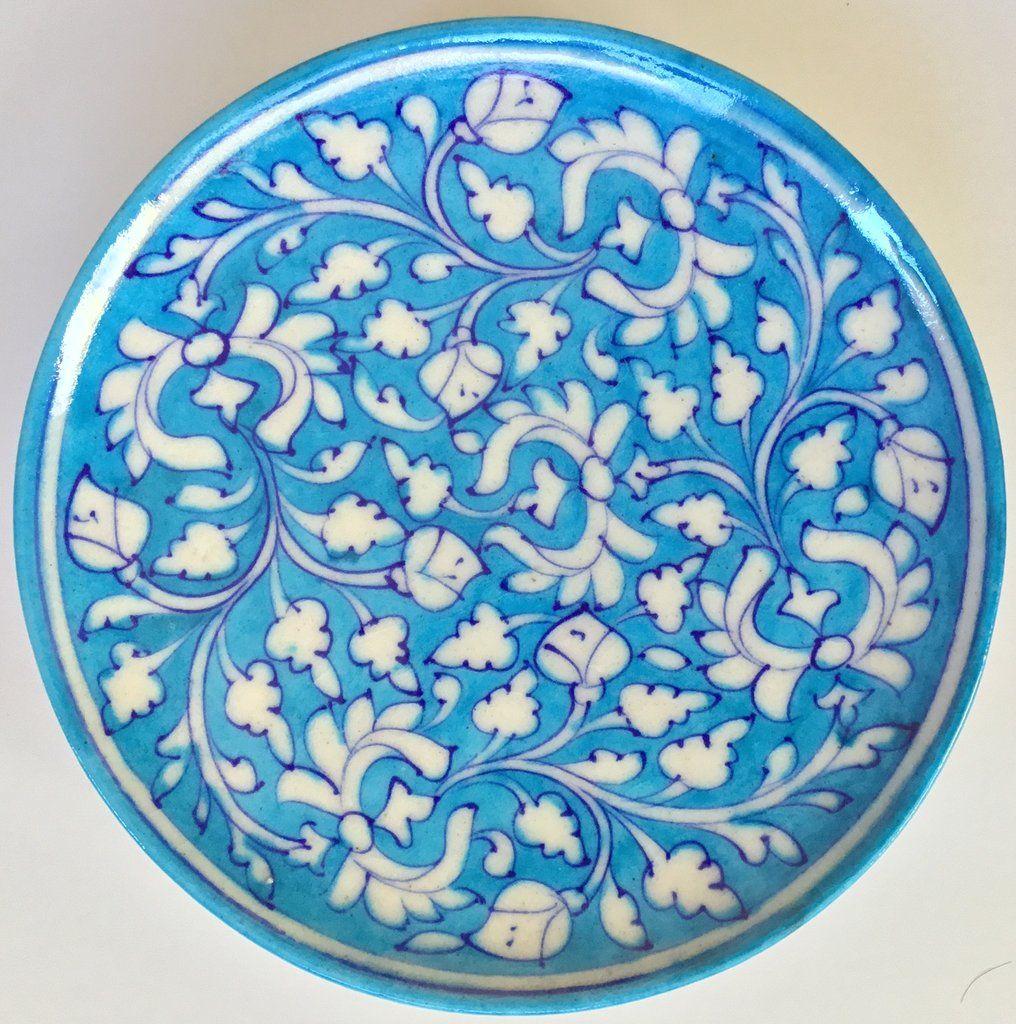 Jaipur Blue Pottery Ceramic Plate Art Handmade Indian Wall Hanging Decor Artwork In 2020 Ceramic Plates Art Blue Pottery Blue Pottery Designs
