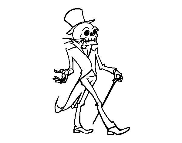 Dibujo de Señor esqueleto para Colorear   Ω-SKULLZ-BONES- & SKELETON ...
