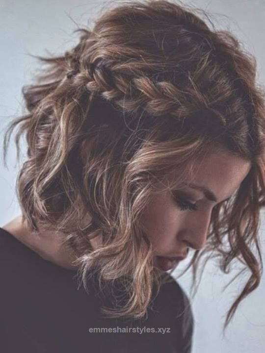 Messy Braided Hairstyle For Short Curly Hair Curly Bob Hairstyles