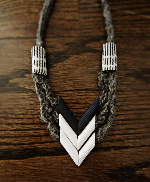 Chevron necklace made from....wait for it...pasta! This takes macaroni art to a new level.