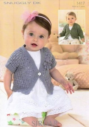 Knitting Pattern Sirdar 1417 Snuggly Dk Baby Girls Cardigans