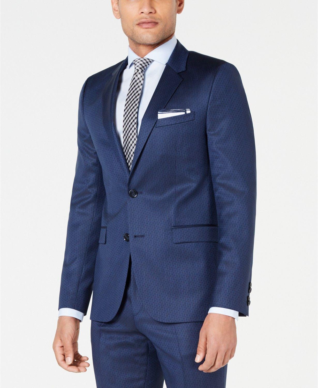 93d2ef047 Hugo Boss HUGO Men's Slim-Fit Navy Broken Stripe Suit Jacket & Reviews -  Blazers