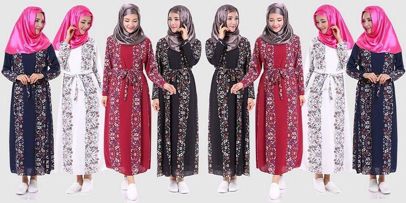 Gambar Model Model Baju Gamis Batik Kombinasi Kain Polos