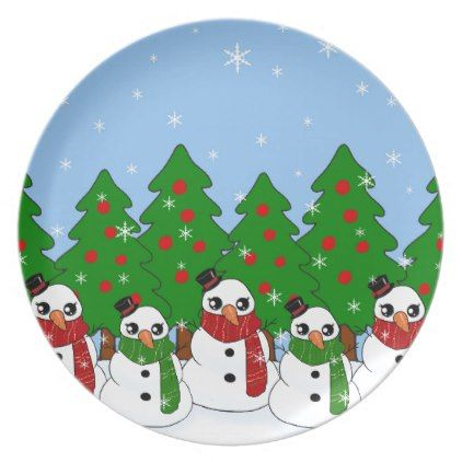 Kawaii Snowman Plate - kitchen gifts diy ideas decor special unique individual customized