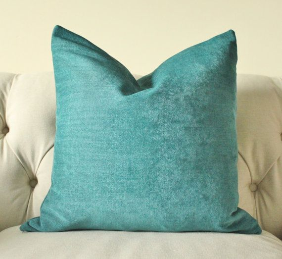 Teal Blue Throw Pillow Covers : Decorative Teal Blue Pillow - Dark Turquoise Pillow Cover - Turquoise Throw Pillow - Chenille ...