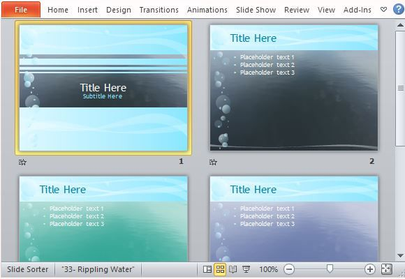 Rippling Water Powerpoint Template  Microsoft Powerpoint