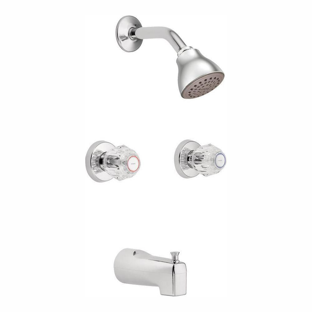 Moen Chateau 2 Handle 1 Spray Tub And Shower Faucet With Valve In