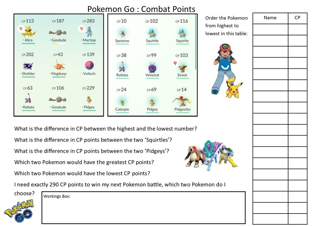 Pokemon Go Maths Word Problems