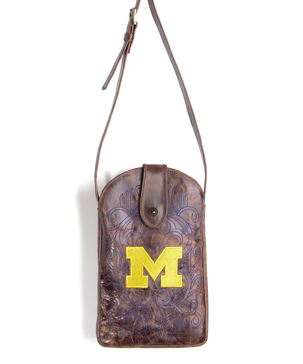 Michigan Wolverines Leather Crossbody Bag