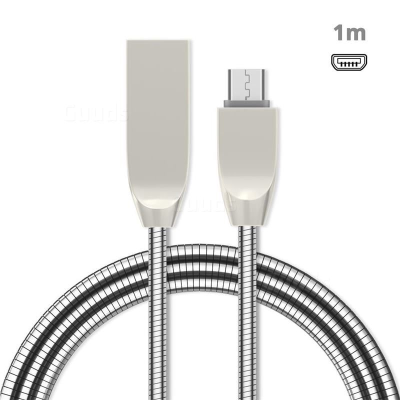 1m Metal D Sharp Zinc Alloy Spring Micro Usb Data Charging Cable Microusb To Usb A Cable Silver Micro Usb Cable Adapter Guuds Charging Cable Micro Usb Micro Usb Cable