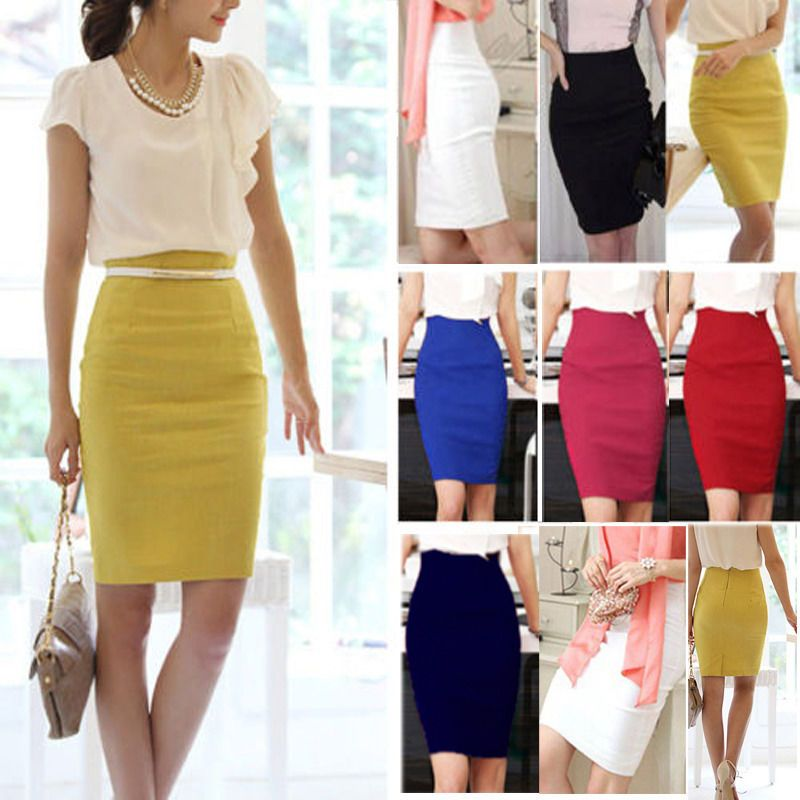 4733cfafe OL Lady High Waist Fit Knee Length Straight Solid Stretch Business Pencil  Skirt #Unbranded #StraightPencil