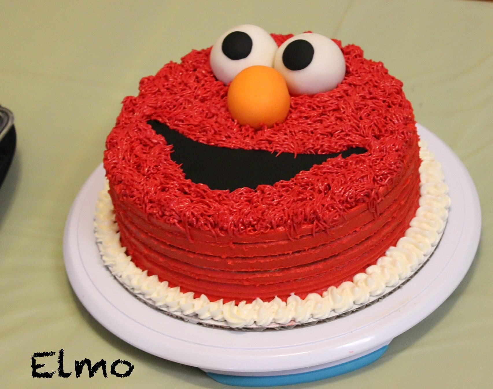 Elmo Cake Made With Buttercream Icing And Fondant For Eyes Nose