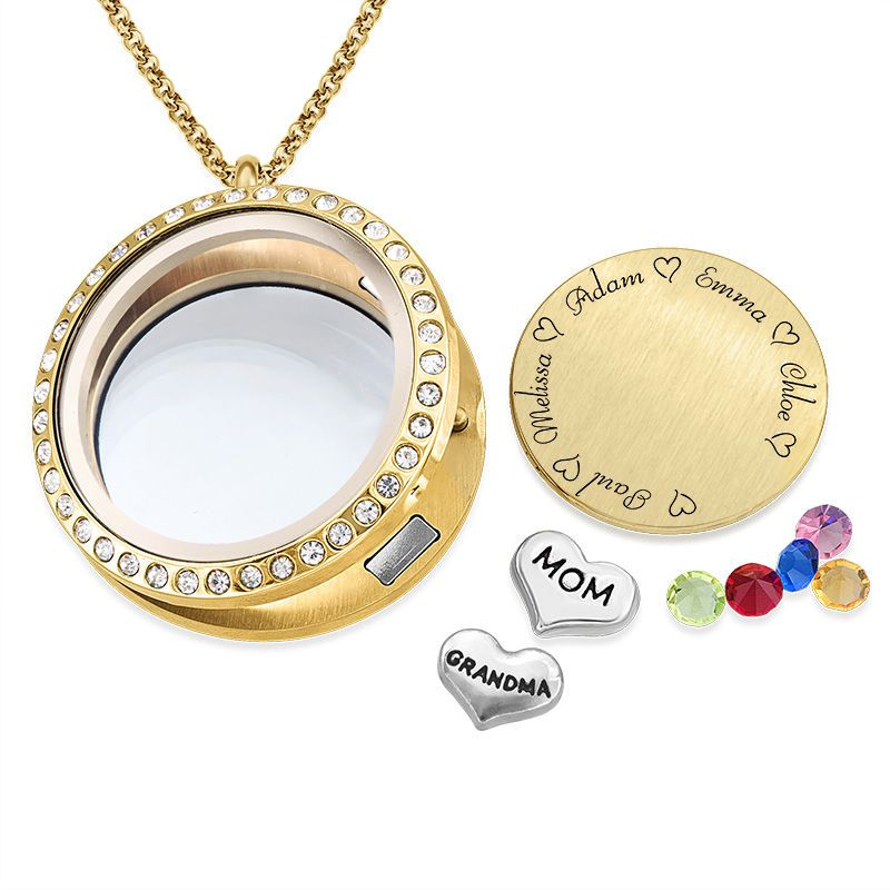 Boknight Family Name Necklace Personalized Floating Charms Engraved Locket Pendant with Birthstone for Mom//Grandma
