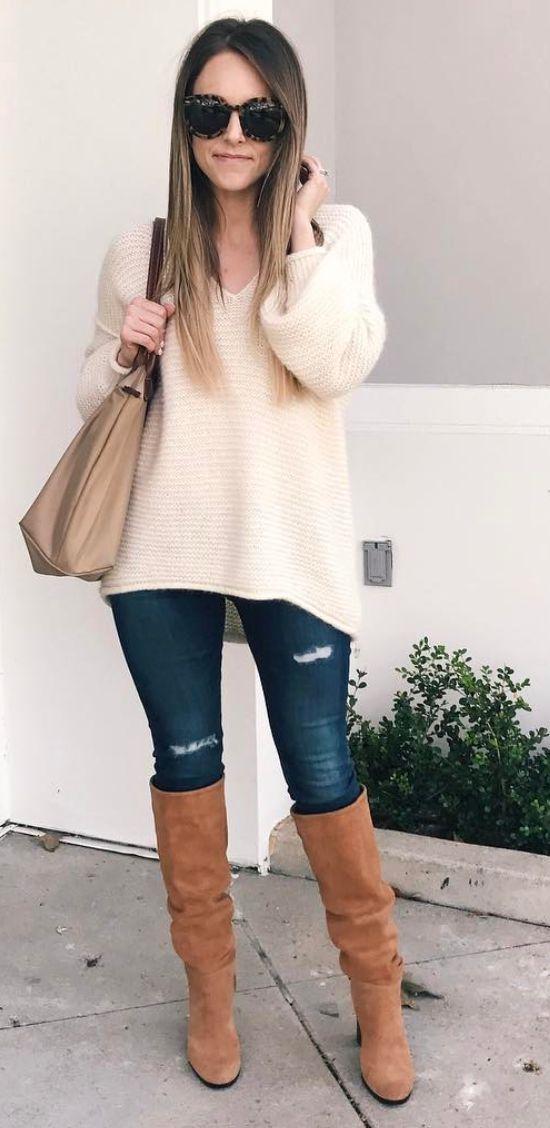 Ivory sweater... | Street Fashion