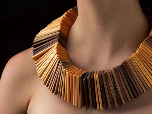 Linda van Niekerk Neckpiece: Tribal Slats, 2012 Huon Pine, Sassafras (wood slats: Jon Grant), nylon, sterling silver