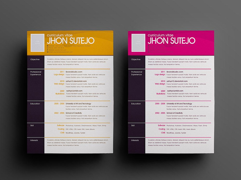 Free One Page Pattern Resume Template in