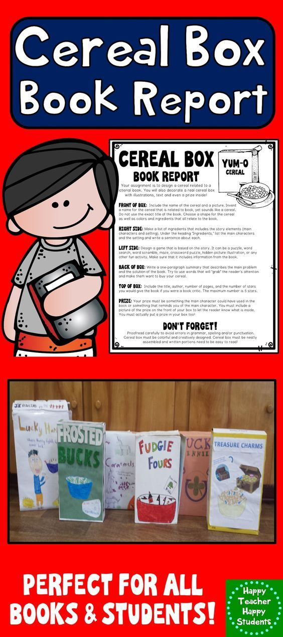 Cereal Box Book Report Directions, Rubric  Example Photos