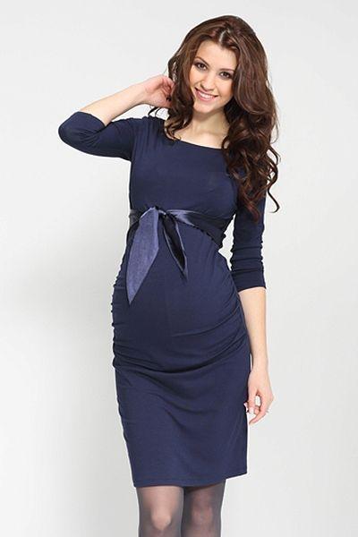 Společenské tmavě modré těhotenské šaty s mašlí  818a16f02c