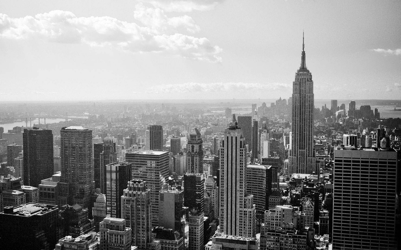 New York Skyline Black And White Panoramic Wallpaper | 9gag ...