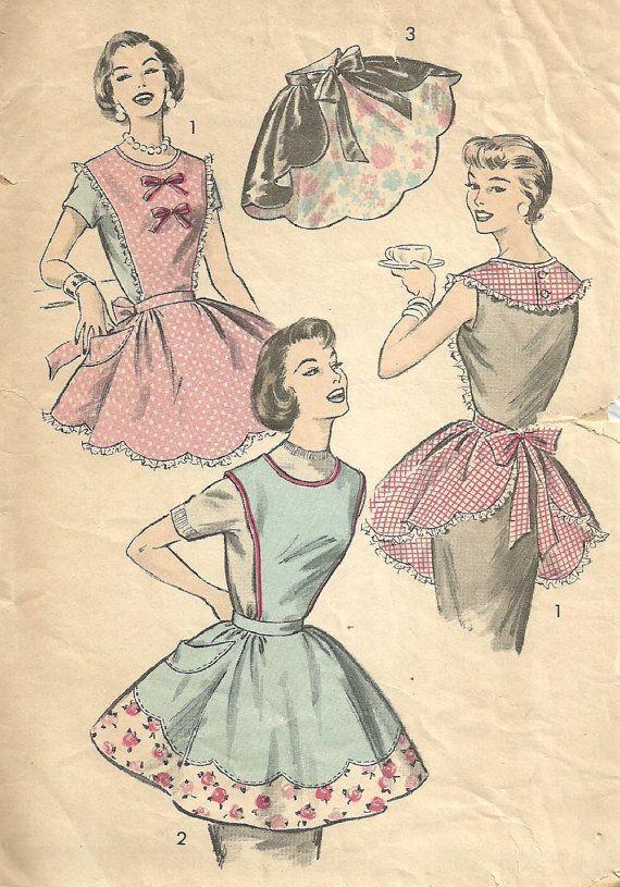 Lovely 50s apron pattern | Vintage aprons | Pinterest | Nähen